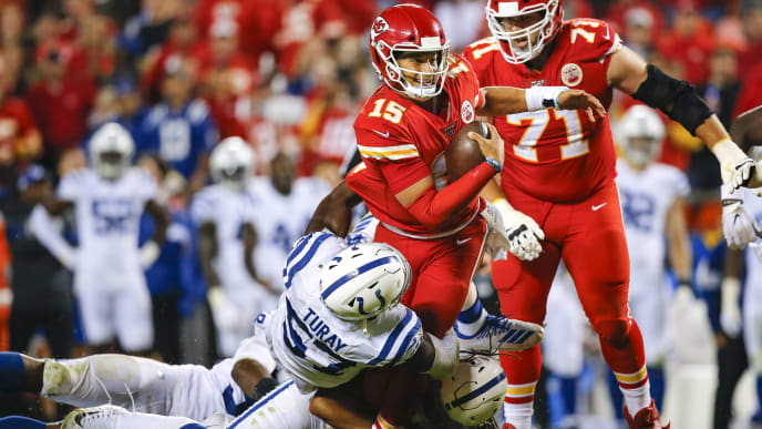 KANSAS CITY, MO - OCTOBER 06: Kemoko Turay #57 of the Indianapolis Colts sacks Patrick Mahomes #15 of the Kansas City Chiefs late in the fourth quarter during the Colts 19-13 victory over the Chiefs at Arrowhead Stadium on October 6, 2019 in Kansas City, Missouri. (Photo by David Eulitt/Getty Images)