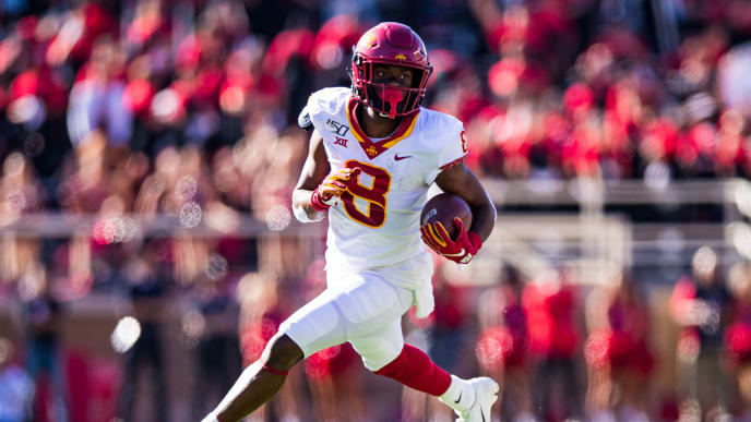 LUBBOCK, TEXAS - OCTOBER 19: Wide receiver Deshaunte Jones #8 of the Iowa State Cyclones runs the ball during the first half of the college football game against the Texas Tech Red Raiders on October 19, 2019 at Jones AT&T Stadium in Lubbock, Texas. (Photo by John E. Moore III/Getty Images)