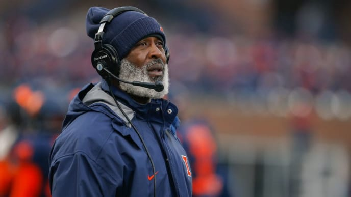 CHAMPAIGN, IL - NOVEMBER 17:  Head coach Lovie Smith of the Illinois Fighting Illini looks up at the scoreboard during the game against the Iowa Hawkeyes at Memorial Stadium on November 17, 2018 in Champaign, Illinois. (Photo by Michael Hickey/Getty Images)