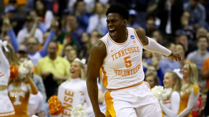COLUMBUS, OHIO - MARCH 24:  Admiral Schofield #5 of the Tennessee Volunteers celebrates after defeating the Iowa Hawkeyes 83-77 in the Second Round of the NCAA Basketball Tournament at Nationwide Arena on March 24, 2019 in Columbus, Ohio. (Photo by Gregory Shamus/Getty Images)