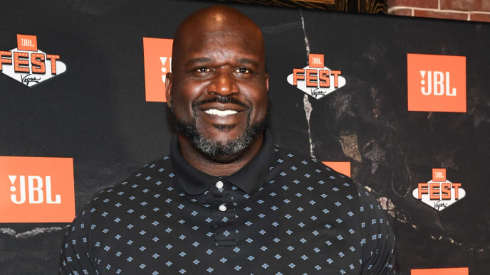 LAS VEGAS, NEVADA - OCTOBER 09: Shaquille O'Neal arrives at Omnia Nightclub for night one of JBL Fest 2019 at Caesars Palace on October 09, 2019 in Las Vegas, Nevada. (Photo by Kevin Mazur/Getty Images for JBL)