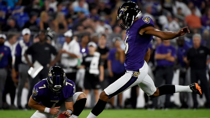 BALTIMORE, MD - AUGUST 08: Kaare Vedvik #6 of the Baltimore Ravens kicks and makes a field goal during the second half of a preseason game against the Jacksonville Jaguars at M&T Bank Stadium on August 8, 2019 in Baltimore, Maryland. (Photo by Will Newton/Getty Images)
