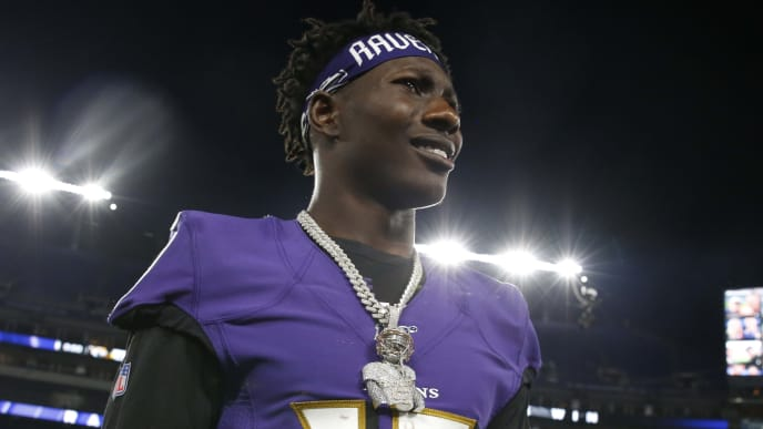 BALTIMORE, MARYLAND - AUGUST 08: Marquise Brown #15 of the Baltimore Ravens walks off the field after a preseason game against the Jacksonville Jaguars at M&T Bank Stadium on August 08, 2019 in Baltimore, Maryland. (Photo by Todd Olszewski/Getty Images)