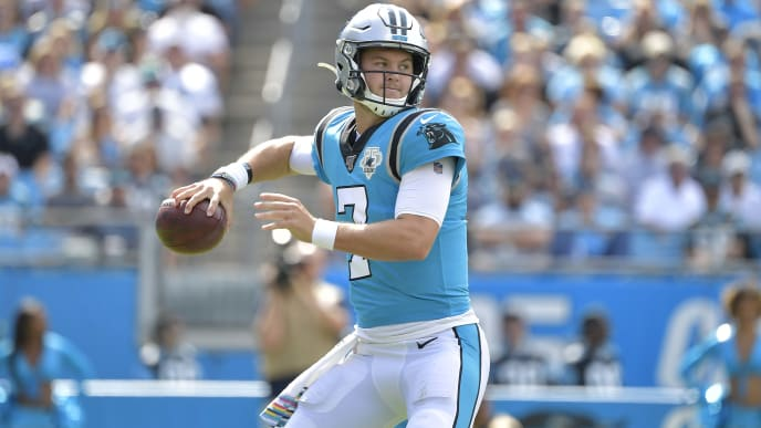 CHARLOTTE, NORTH CAROLINA - OCTOBER 06: Kyle Allen #7 of the Carolina Panthers against the Jacksonville Jaguars during their game at Bank of America Stadium on October 06, 2019 in Charlotte, North Carolina. The Panthers won 34-27. (Photo by Grant Halverson/Getty Images)