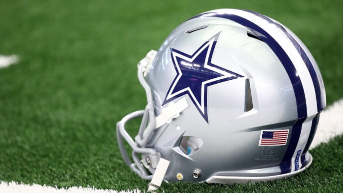 ARLINGTON, TX - OCTOBER 14:  A Dallas Cowboys helmet at AT&T Stadium on October 14, 2018 in Arlington, Texas.  (Photo by Ronald Martinez/Getty Images)