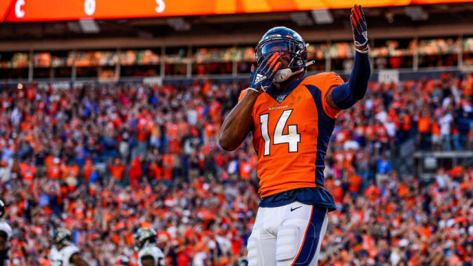 DENVER, CO - SEPTEMBER 29:  Courtland Sutton #14 of the Denver Broncos celebrates after a fourth quarter touchdown reception against the Jacksonville Jaguars at Empower Field at Mile High on September 29, 2019 in Denver, Colorado. (Photo by Dustin Bradford/Getty Images)
