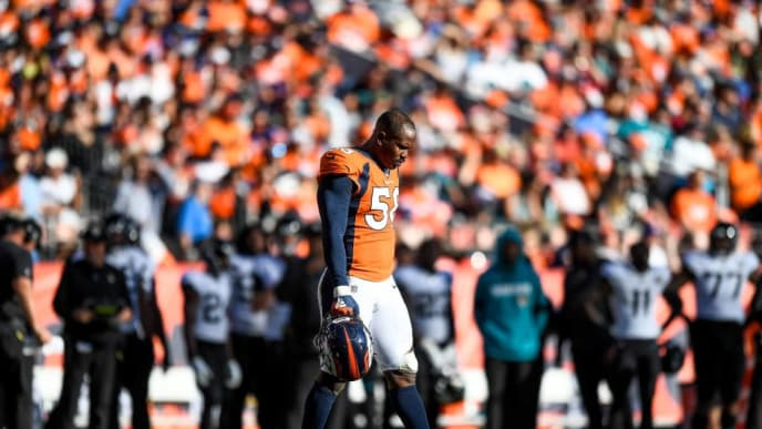 DENVER, CO - SEPTEMBER 29:  Von Miller #58 of the Denver Broncos walks on the field during an injury timeout in the third quarter of a game against the Jacksonville Jaguars at Empower Field at Mile High on September 29, 2019 in Denver, Colorado. (Photo by Dustin Bradford/Getty Images)