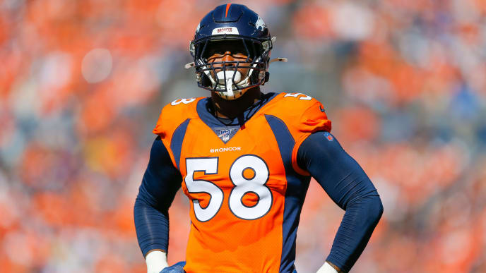 DENVER, CO - SEPTEMBER 29:  Outside Linebacker Von Miller #58 of the Denver Broncos stands on the field against the Jacksonville Jaguars during the first quarter at Empower Field at Mile High on September 29, 2019 in Denver, Colorado. The Jaguars defeated the Broncos 26-24. (Photo by Justin Edmonds/Getty Images)