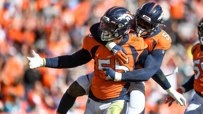 DENVER, CO - SEPTEMBER 29:  Bradley Chubb #55 and Von Miller #58 of the Denver Broncos celebrate after a second quarter Chubb sack against the Jacksonville Jaguars at Empower Field at Mile High on September 29, 2019 in Denver, Colorado. (Photo by Dustin Bradford/Getty Images)