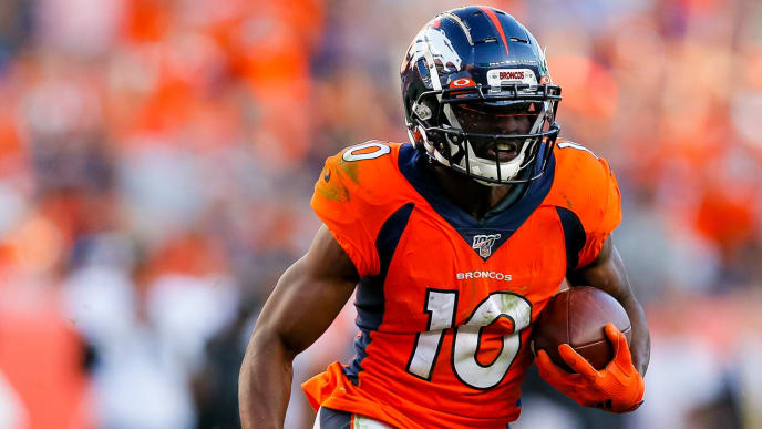 DENVER, CO - SEPTEMBER 29:  Wide receiver Emmanuel Sanders #10 of the Denver Broncos runs with the football against the Jacksonville Jaguars during the fourth quarter at Empower Field at Mile High on September 29, 2019 in Denver, Colorado. The Jaguars defeated the Broncos 26-24. (Photo by Justin Edmonds/Getty Images)