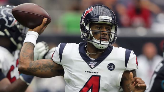 HOUSTON, TEXAS - SEPTEMBER 15: Deshaun Watson #4 of the Houston Texans looks for a receiver during the fourth quarter against the Jacksonville Jaguars at NRG Stadium on September 15, 2019 in Houston, Texas. (Photo by Bob Levey/Getty Images)