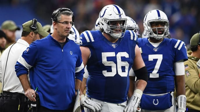 INDIANAPOLIS, INDIANA - NOVEMBER 17:  Head coach Frank Reich of the Indianapolis Colts waits for a review with Quenton Nelson #56 and Jacoby Brissett #7 during a game against the Jacksonville Jaguars at Lucas Oil Stadium on November 17, 2019 in Indianapolis, Indiana. (Photo by Stacy Revere/Getty Images)