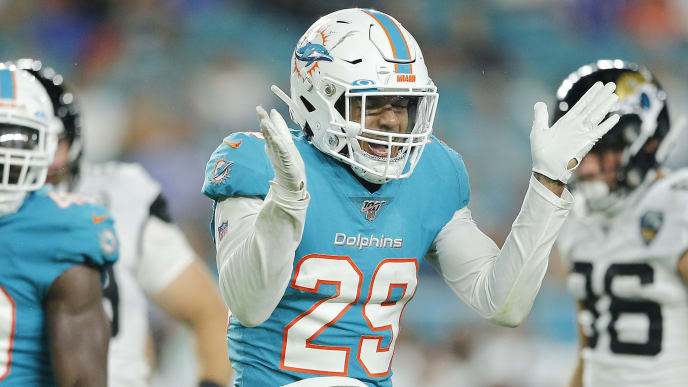 MIAMI, FLORIDA - AUGUST 22:  Minkah Fitzpatrick #29 of the Miami Dolphins celebrates after a tackle against the Jacksonville Jaguars during the second quarter of the preseason game at Hard Rock Stadium on August 22, 2019 in Miami, Florida. (Photo by Michael Reaves/Getty Images)