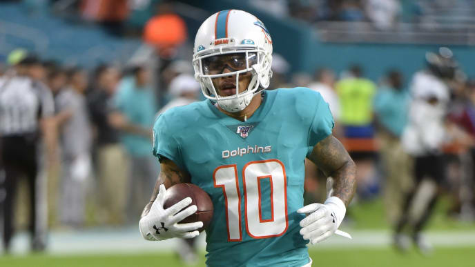 MIAMI, FL - AUGUST 22: Kenny Stills #10 of the Miami Dolphins warms up before the start of a preseason game against the Jacksonville Jaguars at Hard Rock Stadium on August 22, 2019 in Miami, Florida. (Photo by Eric Espada/Getty Images)
