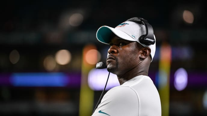 MIAMI, FL - AUGUST 22: Head Coach Brian Flores of the Miami Dolphins coaching in the fourth quarter during the preseason game against the Jacksonville Jaguars at Hard Rock Stadium on August 22, 2019 in Miami, Florida. (Photo by Mark Brown/Getty Images)