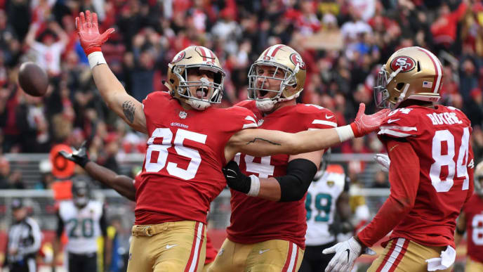SANTA CLARA, CA - DECEMBER 24:  George Kittle #85 of the San Francisco 49ers celebrates after scoring on a eight-yard touchdown catch against the Jacksonville Jaguars during their NFL game at Levi's Stadium on December 24, 2017 in Santa Clara, California.  (Photo by Robert Reiners/Getty Images)