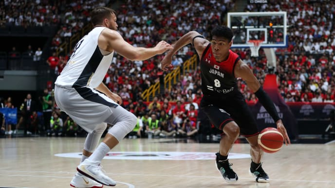 SAITAMA, JAPAN - AUGUST 24: Rui Hachimura #8 of Japan drives to the basket against Danilo Barthel #22 of Germany during the International Basketball Games, Tokyo 2020 Olympic Games test event between Japan and Germany at Saitama Super Arena on August 24, 2019 in Saitama, Japan. (Photo by Takashi Aoyama/Getty Images)