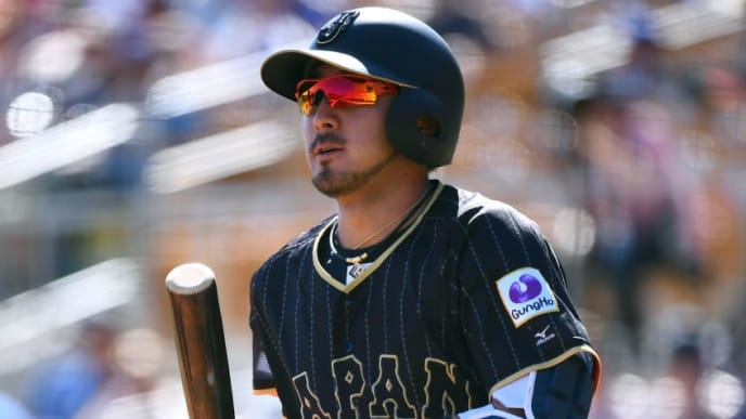 GLENDALE, AZ - MARCH 19:  Ryosuke Kikuchi #4 of Japan is seen during the exhibition game between Japan and Los Angeles Dodgers at Camelback Ranch on March 19, 2017 in Glendale, Arizona.  (Photo by Masterpress/Getty Images)