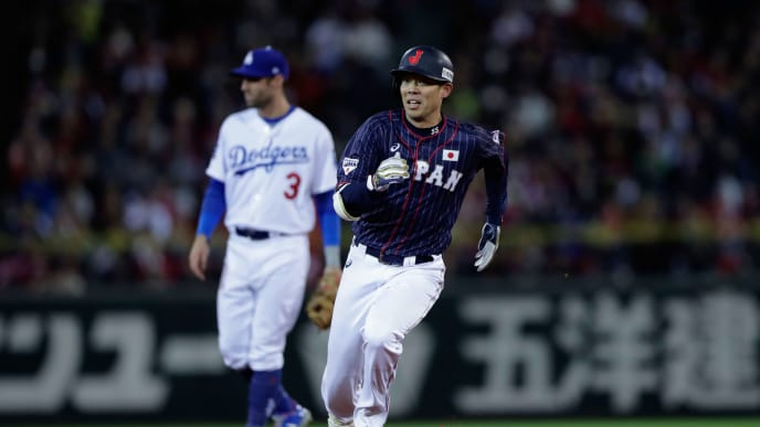 HIROSHIMA, JAPAN - NOVEMBER 13:  Outfielder Shogo Akiyama #55 of Japan runs to make an inside-the-park home run in the top of 8th inning during the game four between Japan and MLB All Stars at Mazda Zoom Zoom Stadium Hiroshima on November 13, 2018 in Hiroshima, Japan.  (Photo by Kiyoshi Ota/Getty Images)