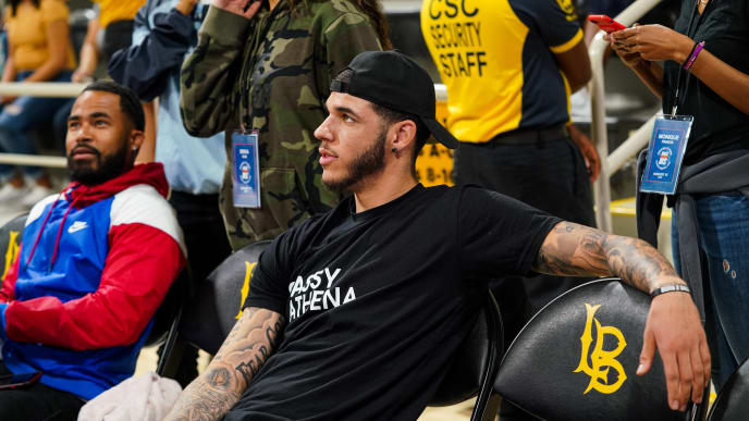 LONG BEACH, CALIFORNIA - AUGUST 17: Lonzo Ball sits courtside at Jordan Bell's First Annual Race to Erase MS Celebrity Basketball Game at California State University Long Beach on August 17, 2019 in Long Beach, California. (Photo by Cassy Athena/Getty Images)