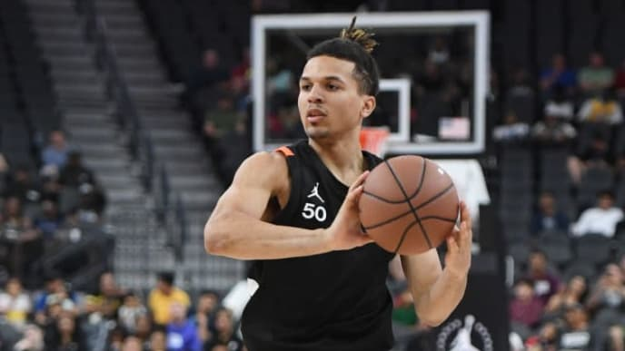 LAS VEGAS, NEVADA - APRIL 20:  Cole Anthony #50 brings the ball up the court during the Jordan Brand Classic boys high school all-star basketball game at T-Mobile Arena on April 20, 2019 in Las Vegas, Nevada.  (Photo by Ethan Miller/Getty Images)