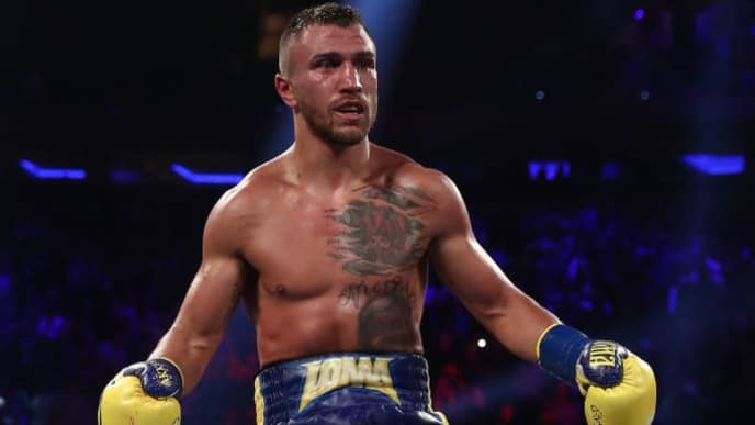 NEW YORK, NY - MAY 12:  Vasiliy Lomachenko celebrates his TKO in the tenth round against Jorge Linares during their WBA lightweight title fight at Madison Square Garden on May 12, 2018 in New York City.  (Photo by Al Bello/Getty Images)