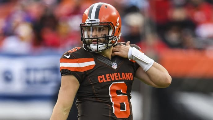 CLEVELAND, OH - NOVEMBER 04:  Baker Mayfield #6 of the Cleveland Browns reacts after throwing an interception during the fourth quarter against the Kansas City Chiefs at FirstEnergy Stadium on November 4, 2018 in Cleveland, Ohio. (Photo by Jason Miller/Getty Images) *** Local Caption ***