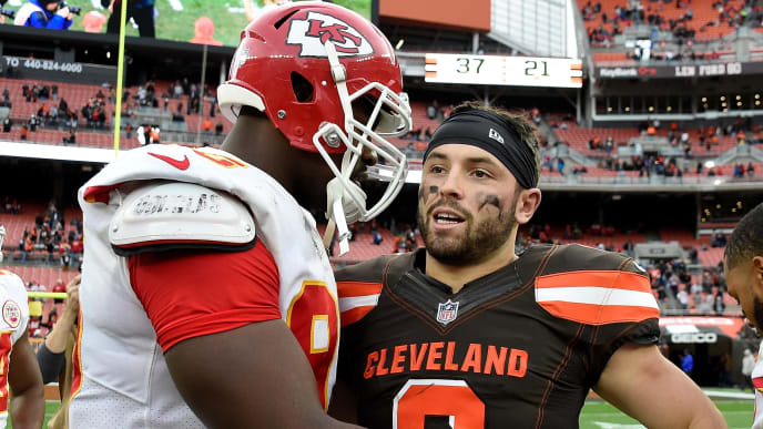 CLEVELAND, OH - NOVEMBER 04:  Chris Jones #95 of the Kansas City Chiefs talks with Baker Mayfield #6 of the Cleveland Browns after a 37-21 win by Kansas City at FirstEnergy Stadium on November 4, 2018 in Cleveland, Ohio. (Photo by Jason Miller/Getty Images)
