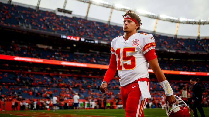 DENVER, CO - OCTOBER 17:  Quarterback Patrick Mahomes #15 of the Kansas City Chiefs walks off the field before a game against the Denver Broncos at Empower Field at Mile High on October 17, 2019 in Denver, Colorado. (Photo by Justin Edmonds/Getty Images)