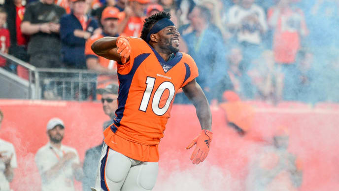 DENVER, CO - OCTOBER 17:  Emmanuel Sanders #10 of the Denver Broncos runs onto the field during player introductions before a game against the Kansas City Chiefs at Empower Field at Mile High on October 17, 2019 in Denver, Colorado. (Photo by Dustin Bradford/Getty Images)