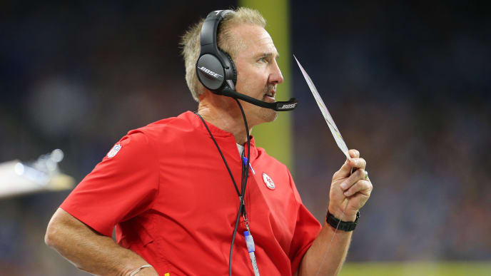 DETROIT, MI - SEPTEMBER 29: Steve Spagnuolo, defensive coordinator with the Kansas City Chiefs, calls in a play from the sidelines against the Detroit Lions at Ford Field on September 29, 2019 in Detroit, Michigan. (Photo by Rey Del Rio/Getty Images)