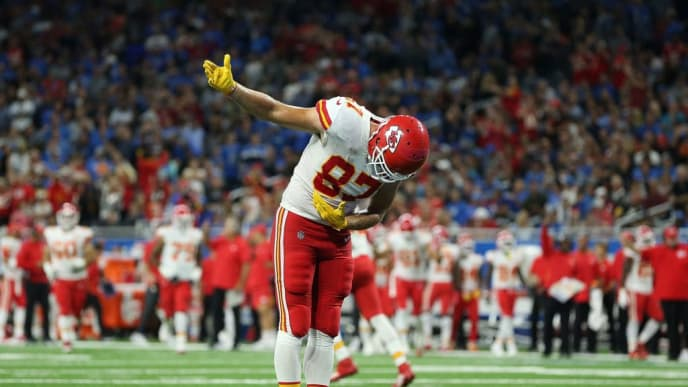 DETROIT, MI - SEPTEMBER 29: Travis Kelce #87 of the Kansas City Chiefs celebrates a third quarter touchdown during the game against the Detroit Lions at Ford Field on September 29, 2019 in Detroit, Michigan. Kansas City defeated Detroit 34-30. (Photo by Leon Halip/Getty Images)