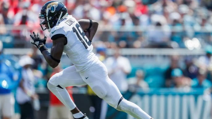 JACKSONVILLE, FLORIDA - SEPTEMBER 08: Chris Conley #18 of the Jacksonville Jaguars runs for yardage against the Kansas City Chiefs at TIAA Bank Field on September 08, 2019 in Jacksonville, Florida. (Photo by James Gilbert/Getty Images)