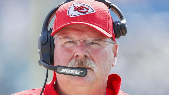 JACKSONVILLE, FLORIDA - SEPTEMBER 08: head coach Andy Reid of the Kansas City Chiefs looks on during the second half against the Jacksonville Jaguars at TIAA Bank Field on September 08, 2019 in Jacksonville, Florida. (Photo by James Gilbert/Getty Images)