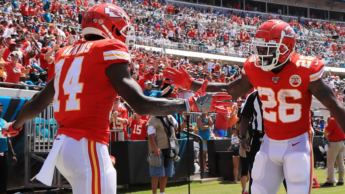 JACKSONVILLE, FLORIDA - SEPTEMBER 08: Wide receiver Sammy Watkins #14 celebrates his touchdown with running back Damien Williams #26 of the Kansas City Chiefs in the first quarter of the game against the Jacksonville Jaguars at TIAA Bank Field on September 08, 2019 in Jacksonville, Florida. (Photo by Sam Greenwood/Getty Images)