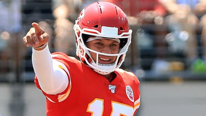 JACKSONVILLE, FLORIDA - SEPTEMBER 08: Patrick Mahomes #15 of the Kansas City Chiefs calls out a signal during the game against the Jacksonville Jaguars at TIAA Bank Field on September 08, 2019 in Jacksonville, Florida. (Photo by Sam Greenwood/Getty Images)