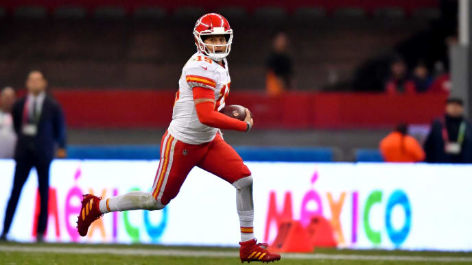 MEXICO CITY, MEXICO - NOVEMBER 18: Patrick Mahomes #15 of the Kansas City Chiefs scrambles out of the pocket for extra yards during an NFL football game against the Los Angeles Chargers on Monday, November 18, 2019, in Mexico City. The Chiefs defeated the Chargers 24-17. (Photo by Alika Jenner/Getty Images)