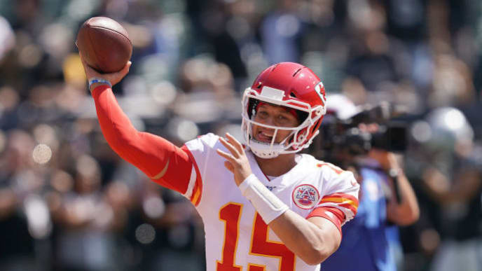 OAKLAND, CALIFORNIA - SEPTEMBER 15: Patrick Mahomes #15 of the Kansas City Chiefs warm up during pregame prior to the start of an NFL football game against the Oakland Raiders at RingCentral Coliseum on September 15, 2019 in Oakland, California. (Photo by Thearon W. Henderson/Getty Images)