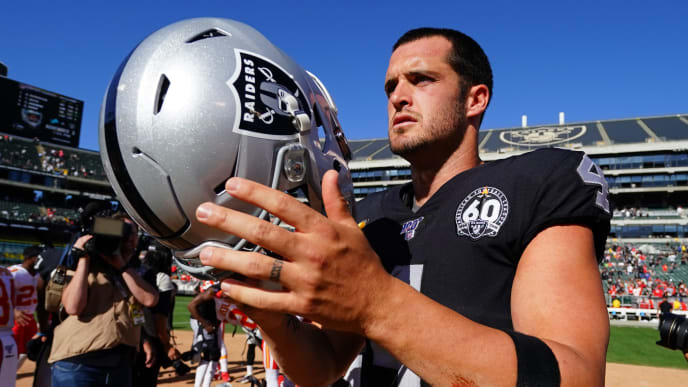 OAKLAND, CALIFORNIA - SEPTEMBER 15: Derek Carr #4 of the Oakland Raiders walks off the field after losing to the Kansas City Chiefs at RingCentral Coliseum on September 15, 2019 in Oakland, California. (Photo by Daniel Shirey/Getty Images)