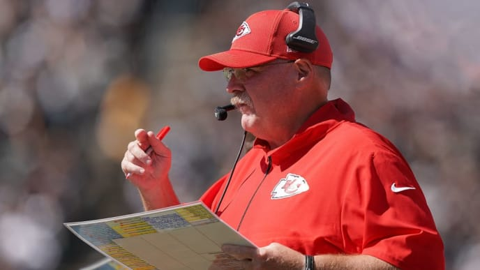 OAKLAND, CA - SEPTEMBER 15:  Head coach Andy Reid of the Kansas City Chiefs looks on from the sidelines against the Oakland Raiders during the second quarter of an NFL football game at RingCentral Coliseum on September 15, 2019 in Oakland, California.  (Photo by Thearon W. Henderson/Getty Images)