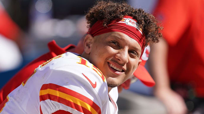 OAKLAND, CA - SEPTEMBER 15:  Patrick Mahomes #15 of the Kansas City Chiefs looks on from the bench against the Oakland Raiders during the third quarter of an NFL football game at RingCentral Coliseum on September 15, 2019 in Oakland, California.  (Photo by Thearon W. Henderson/Getty Images)