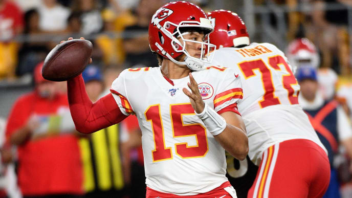 PITTSBURGH, PA - AUGUST 17: Patrick Mahomes #15 of the Kansas City Chiefs drops back to pass in the first quarter during a preseason game against the Pittsburgh Steelers at Heinz Field on August 17, 2019 in Pittsburgh, Pennsylvania. (Photo by Justin Berl/Getty Images)
