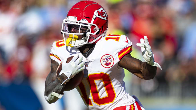 NASHVILLE, TN - NOVEMBER 10:  Tyreek Hill #10 of the Kansas City Chiefs runs with the ball during the second quarter against the Tennessee Titans at Nissan Stadium on November 10, 2019 in Nashville, Tennessee. Tennessee defeats Kansas City 35-32.  (Photo by Brett Carlsen/Getty Images)