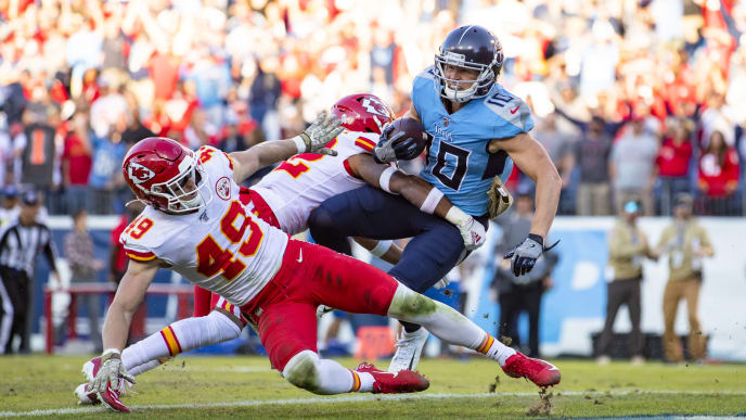 NASHVILLE, TN - NOVEMBER 10:  Adam Humphries #10 of the Tennessee Titans carries a pass reception for a game-winning touchdown during the fourth quarter against the Kansas City Chiefs at Nissan Stadium on November 10, 2019 in Nashville, Tennessee. Tennessee defeats Kansas City 35-32.  (Photo by Brett Carlsen/Getty Images)