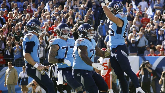 NASHVILLE, TENNESSEE - NOVEMBER 10: Anthony Firkser #86 of the Tennessee Titans celebrates with teammates after making a touchdown reception against the Kansas City Chiefs during the first half at Nissan Stadium on November 10, 2019 in Nashville, Tennessee. (Photo by Frederick Breedon/Getty Images)