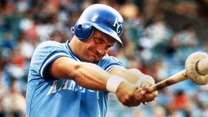 BALTIMORE, MD - CIRCA 1983: George Brett of the Kansas City Royals prepares to bat against the Baltimore Orioles at Memorial Stadium circa 1983 in Baltimore, Maryland. (Photo by Owen C. Shaw/Getty Images)