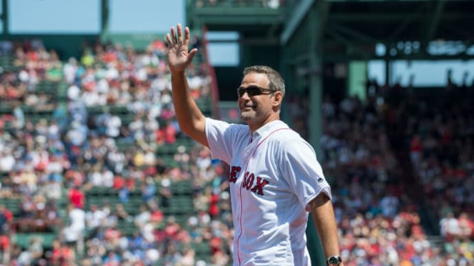 BOSTON, MA - JULY 30:  Former Boston Red Sox third baseman Mike Lowell  is introduced during a ceremony recognizing the ten year anniversary of the 2007 World Series champions on July 30, 2017 in Boston, Massachusetts.  (Photo by Michael Ivins/Boston Red Sox/Getty Images)