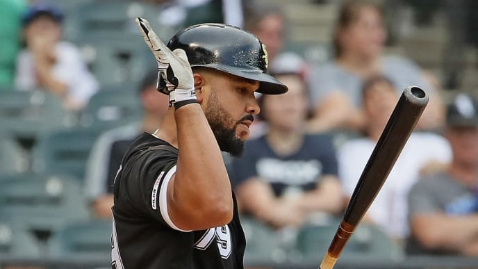 CHICAGO, ILLINOIS - SEPTEMBER 12: Jose Abreu #79 of the Chicago White Sox slaps his bat after striking out in the 9th inning against the Kansas City Royals at Guaranteed Rate Field on September 12, 2019 in Chicago, Illinois. The Royals defeated the White Sox 6-3. (Photo by Jonathan Daniel/Getty Images)
