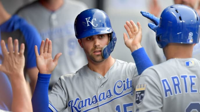 CLEVELAND, OHIO - JULY 19: Whit Merrifield #15 of the Kansas City Royals celebrates after scoring during the third inning against the Cleveland Indians at Progressive Field on July 19, 2019 in Cleveland, Ohio. (Photo by Jason Miller/Getty Images)