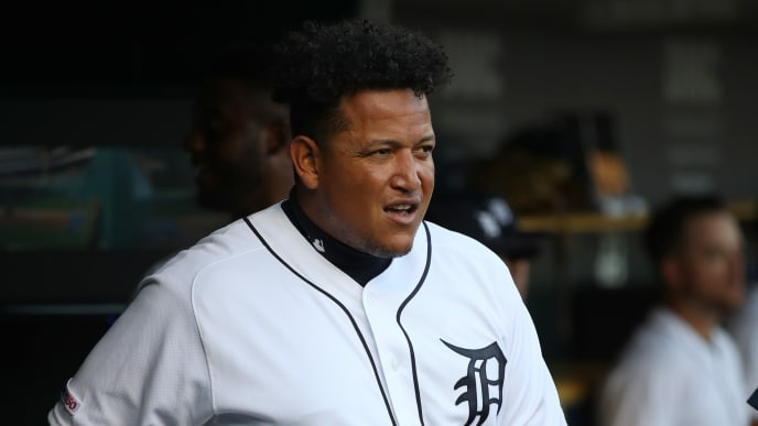 DETROIT, MICHIGAN - AUGUST 09: Miguel Cabrera #24 of the Detroit Tigers looks on from the dugout in the first inning while playing the Kansas City Royals at Comerica Park on August 09, 2019 in Detroit, Michigan. (Photo by Gregory Shamus/Getty Images)